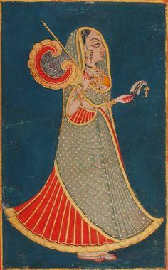 Jodhpur princess with fan and royal pankha and sarpech (fan and turban ornament) - Jodhpur, Rajasthan, c1820-40