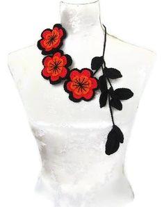 Crochet Jewelry Necklace black red orange by Iovelycrochet on Etsy