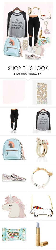 """""""My unicorn ate my homework"""" by nakkefashion ❤ liked on Polyvore featuring Skinnydip, Triumph, Kate Spade, Sophia Webster, Venessa Arizaga and New Look"""