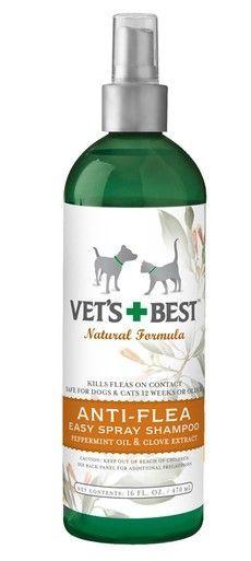 Vet's Best Natural Anti-Flea Easy Spray Shampoo Formulated Peppermint Oil 16oz