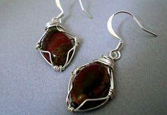 Wire Wrapped Silver Leaf Jasper Dangle Earrings