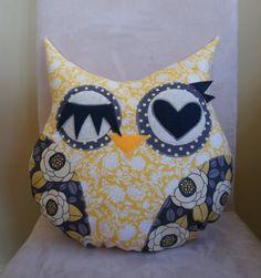 Owl Pillow Plush   yellow gray flower  Ready to by RainRainRain