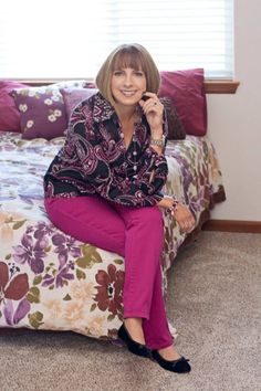 Darlene from Who's A Pretty Girl pairs colored denim with a pretty paisley blouse.