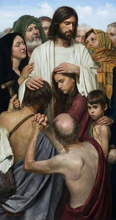 Christ Heals The Sick by Jeff Hein. God and Jesus Christ Jesus Our Savior, Jesus Is Lord, Image Jesus, Images Of Christ, Religion, Jesus Christus, Biblical Art, Jesus Pictures, Jesus Pics