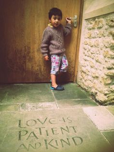 Stain stenciled words on concrete walkway!