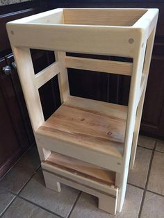 Items similar to Natural Pine Children's Kitchen Play Helper Step Stool Counter High, Sliding Step For EZ Storage on Etsy Wood Projects For Kids, Kids Wood, Diy Pallet Projects, Project Ideas, Wooden Projects, Wood Crafts, New Kitchen Diy, Diy Outdoor Kitchen, Childs Kitchen