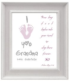 Personalized Mothers Day Gift For Grandma Butterfly Baby Footprint Art DIY Keepsake Print Printable PDF