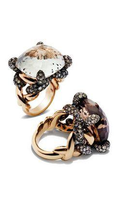 Pomellato ~ Tango Collection rings with white topaz, smoky quartz, brown diamonds