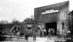 T. J. Eansor & Co. Blacksmith shop, located on the west side of Ferry Street between Sandwich and Pitt streets, Windsor Ontario 1895. (FIL...