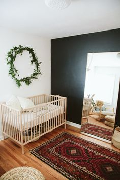 Natural, bohemian nursery in Portland Layer Cakelet) Eeee! Those final days waiting for baby. Paige Jones, photographer and mama behind this sweet bohemian nursery is in the midst of all that magic right now, which makes it such perfect timing to share Baby Bedroom, Baby Room Decor, Nursery Room, Boy Room, Kids Bedroom, Nursery Decor, Nursery Ideas, Bedroom Black, Nursery Mirror