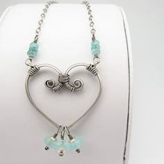 Sterling Heart Pendant, Silver Chain Necklace,  Gemstones. $99.00, via Etsy.