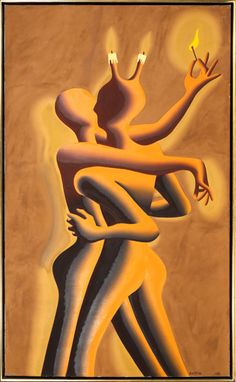 Artist: Mark Kostabi, American (1960 - ) Title: Light My Fire Year: 1989 Medium: Oil on Canvas, signed l.r. and verso Size: 68 x 40 inches (172.7 x 101.6 cm) Frame Size: 70 x 42 inches