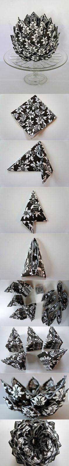 Napkin Folding Techniques That Will Transform Your Dinner Table Architecture & Design Napkin Folding, Paper Folding, Diy And Crafts, Arts And Crafts, Paper Crafts, Teen Crafts, Origami Paper, Lotus Origami, Oragami