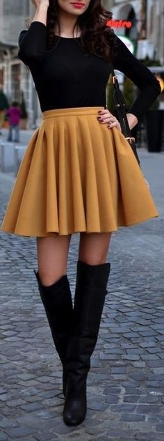 High Waisted Skirt With Long Sleeved Sheer Top  Don't like the color but its cute