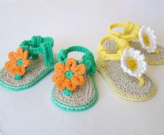"""CROCHET PATTERN for Cute little Baby Flower Sandals - summer has never been such fun, or so colorful!Make your own cute little sandals for baby in no time for just a few dollars! Softer than any sandals I've seen and very sturdy with double layer soles.***Pattern available for immediate download - please allow a few minutes after payment for the transaction to go through.Written for 3 sizes: 0-6months (4.3"""")(11cms) 6-12 months (4.75"""")(12cms), 12-18 months (5"""")(4.7cms)*Two different options…"""