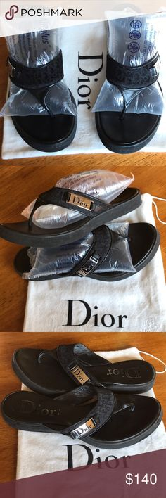 Christian Dior flip flops Beautifully crafted leather and canvas made in Italy by Dior! Barely worn EUC. True to size Christian Dior Shoes Sandals