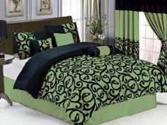 """7 Pcs Flocking Paisley Comforter Set Bed In A Bag Queen Sage/Black by Jaba. $77.99. 2 Pcs Standard Pillow Shams (20"""" x 28""""). 1 Pc Breakfast Pillow  , 1 Pc Neckroll. 1 Pc Bedskirt (60"""" x 80"""" + 14"""" Drop). 1 Pc Square Cushion. 1 Pc Queen Size Comforter (86"""" x 86""""). 7 Pcs Luxury Comforter Set  This is a very attractive comforter set.  This comforter set will give your room a new look!      Style#: 20596     Condition: Brand New     Size: Queen     Design: Paisley   ..."""