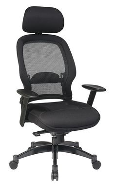 Office Star 25004 Professional Deluxe Black Breathable Mesh Back Chair With  Adjustable Headrest And Mesh Seat