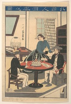 Utagawa Yoshikazu | A Foreigner's Wine Party (Gaikokujin shuen no zu), from an untitled series of foreigners at home | Japan | Edo period (1615–1868) | The Met