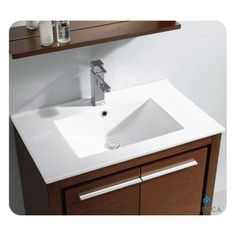 Fresca Allier 30 in. Vanity in Wenge Brown with Ceramic Vanity Top in White and Mirror-FVN8130WG - The Home Depot