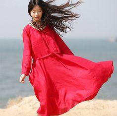 Red linen dress maxi dress sundress large size cotton dress casual loose dress summer long dress plus size dress