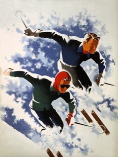 Vintage poster showing a man and woman skiing. Used for Jantzen skiwear ad, 1947. #skiing #vintage #sports