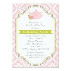 Tea party teapot, damask pink green bridal shower card
