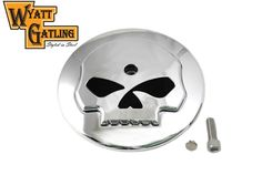 Wyatt Gatling Skull Air Cleaner Cover Insert For Harley Davidson Big Twin #VTwinManufacturing