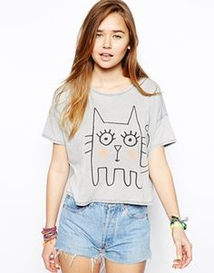 ASOS T-Shirt with Sketchy Cat
