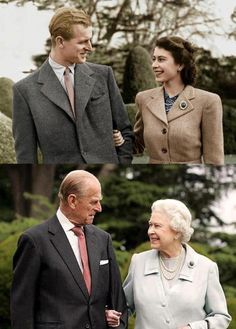 """Then and Now"" Photograph of Prince Philip and Queen Elizabeth: DIamond Jubilee Celebration"