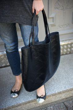 Black Oversized Leather Hobo Bag Tote bag in black by patkas, $180.00