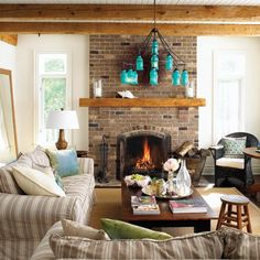 Brick hearth, wood mantle   Photo Gallery: Traditional Cottages   House & Home