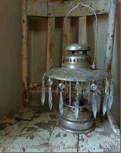 rustic chandelier - old camp lantern