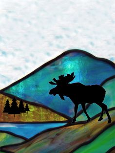 stained glass moose - Google Search