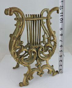 Vintage Cast Metal or Brass Lyre Harp Music Magazine Rack Stand Heavy #Ornate #Unknown