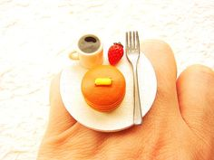 Miniature Food Ring Coffee Pancakes Cute Food by SouZouCreations, $12.50 #etsy #jewelry #jewellery #shopping #etsy #handmade #food #gift #present #accessory #accessories #harajuku #tokyo #fashion