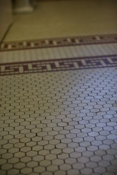 craftsman kitchens in 1910 | Both bathrooms have the original hex tile.
