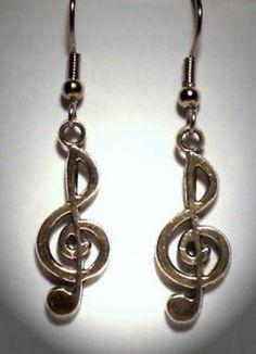 Ohrringe Notenschlüssel Edelstahl Ohrhänger Metall Legierung Damen Ohrschmuck Neuware