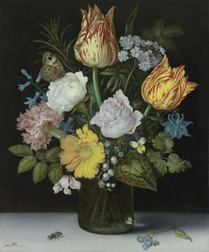 Ambrosius Bossechaert the Elder (ANTWERP 1573 - 1621 THE HAGUe), Still Life of Variegated Tulips, Roses, a Hyacinth, a Primrose, a Violet, Forget-me-nots, a Columbine, Lily of the Valley, a Cyclamen, a Marigold and a Carnation All in a Glass Vase, with a Butterfly and Housefly