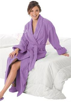 Long terry robe with FREE matching slippers by Dreams & Co® | Plus Size Robes & Slippers | Woman Within