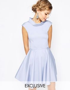 Enlarge Closet Collared Skater Dress With Pockets from Asos. Loads of suitable dresses on this site that older girls could wear afterwards. This one would match with the ivory boat neck dress from next for the younger girls Cute Blue Dresses, Dresses For Work, Lovely Dresses, Pink Dress, Dress Up, Dress Shirt, Collar Dress, Flare Dress, Marine Uniform