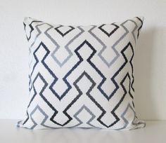 Decorative pillow cover - 20x20 - White - Dark Blue - Black - Linen  - Embroidery - Geometric - Zig Zag - Designer Pillow - Throw Pillow on Etsy, $63.00