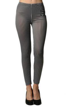 Black & White Vertical Striped Ankle Leggings