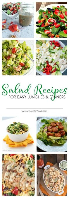 Just because you don't feel like cooking doesn't mean you can't still have a great meal! These salad recipes are a great way to fill up on healthy veggies and protein without having to spend all day in the kitchen.  #salad #saladrecipes #saladrecipeshealthy #saladrecipesfordinner #saladrecipeswithchicken #healthydinnerideas #easylunches
