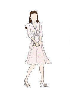 "Royal Tour Malaysia Duchess of Cambridge Kate Middleton Fashion Print 8.5""x11"" Jenny Packham Orchid Dress"