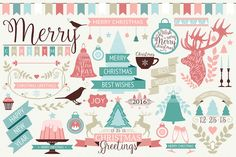 Vector collection of decorative Christmas design elements. You will get: 1 EPS files - vector collection of Christmas design elements 1 JPG files - rast. Diy Outfits, Diy Design, Free Design, Christmas Design, Vector Christmas, Christmas Fonts, Christmas Patterns, Vintage Christmas, Christmas Decor