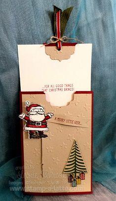 12 Weeks of Christmas – Bonus Project – Santa Slider Pocket Card! Pull the tab… Pop Up Cards, Cute Cards, Holiday Cards, Christmas Cards, Gift Cards, Greeting Cards, 3d Christmas, Stampin Up Christmas, Christmas Ideas