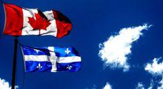 Quebec und Kanada Flagge wehen gemeinsam!
