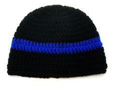 Black and Blue Striped Crochet Hat/Multi-Size by Francesca4me on Etsy