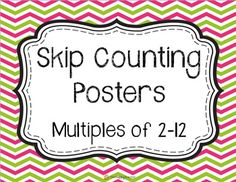 """These brightly covered chevron posters are fantastic for all math teachers! This FREEBIE includes posters labeled """"Skip Counting"""" for the younger grades and """"Multiples"""" for the older grades. The posters will look great printed on white card stock, or Math Teacher, Math Classroom, Kindergarten Math, Classroom Ideas, Preschool, Primary Teaching, Teaching Math, Teaching Ideas, Math Resources"""